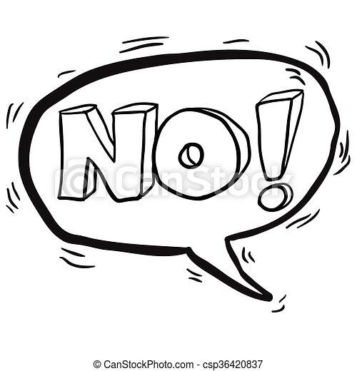いいえ, シンボル, 黒, スピーチ, 白, 泡, 漫画 - csp36420837