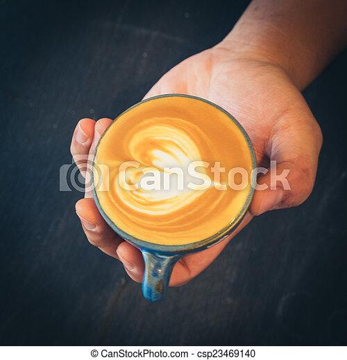 いかに, コーヒー, 芸術, 作りなさい, latte - csp23469140