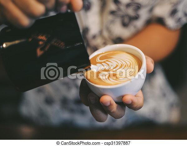 いかに, コーヒー, 芸術, 作りなさい, latte - csp31397887