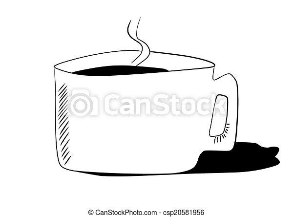 いたずら書き, カップ, 引かれる, 手, コーヒー - csp20581956