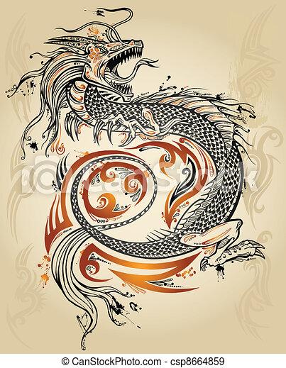 いたずら書き, スケッチ, ドラゴン, 入れ墨 - csp8664859