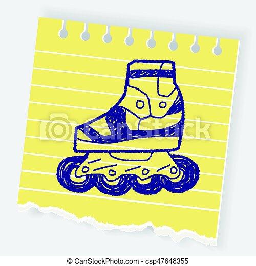 いたずら書き, スケート, ローラー - csp47648355