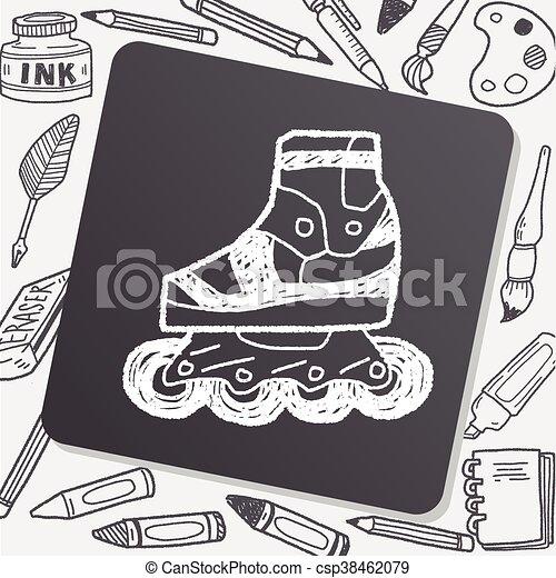 いたずら書き, スケート, ローラー - csp38462079
