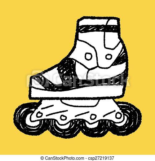 いたずら書き, スケート, ローラー - csp27219137
