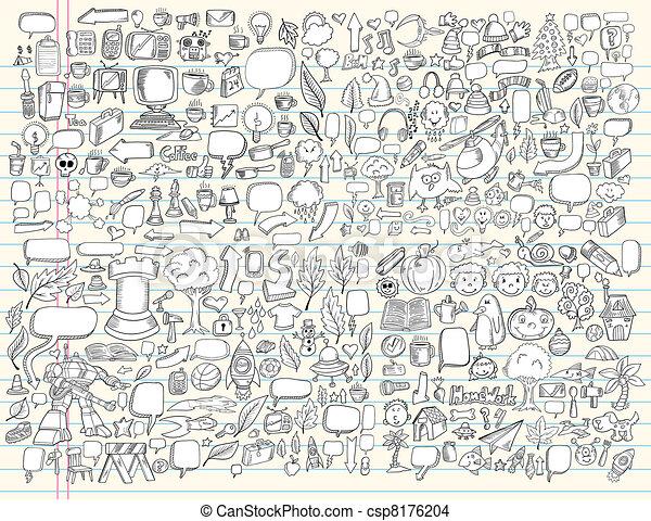 いたずら書き, デザイン, ベクトル, セット, 要素 - csp8176204