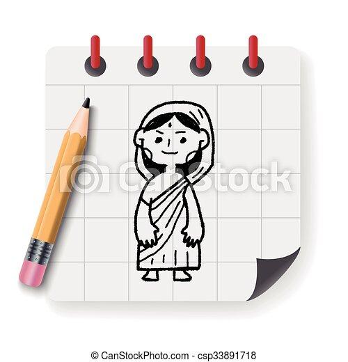いたずら書き, 女, indian - csp33891718