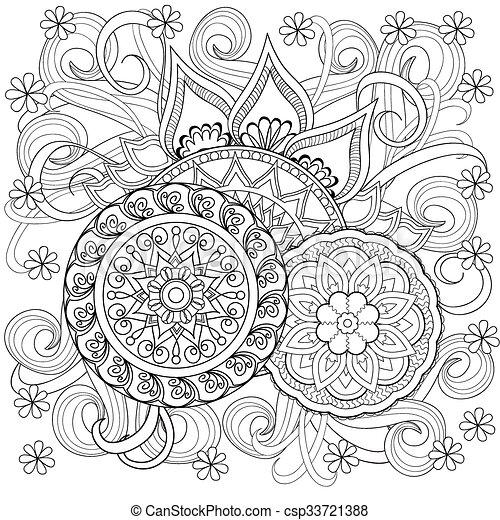 いたずら書き, 花, mandalas - csp33721388