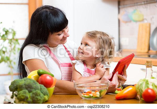 おお, 野菜, 母, 一緒に, 準備, 子供, 台所 - csp22308210