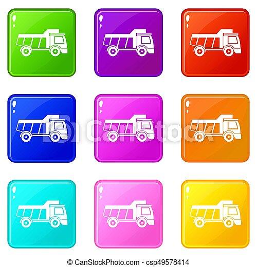 おもちゃ, セット, 9, アイコン, トラック - csp49578414
