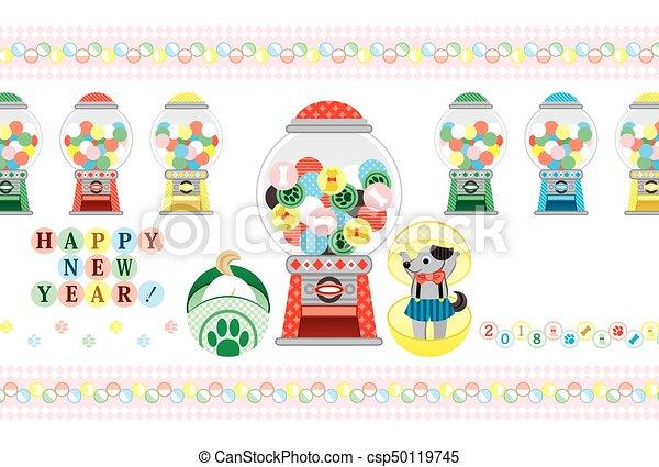 おもちゃ, 挨拶, カプセル, 2018, 年, 新しい, カード, 幸せ - csp50119745