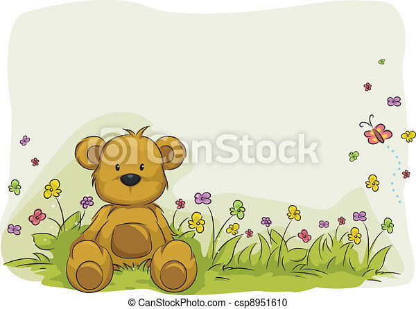 おもちゃ, 熊, 群葉, 背景 - csp8951610