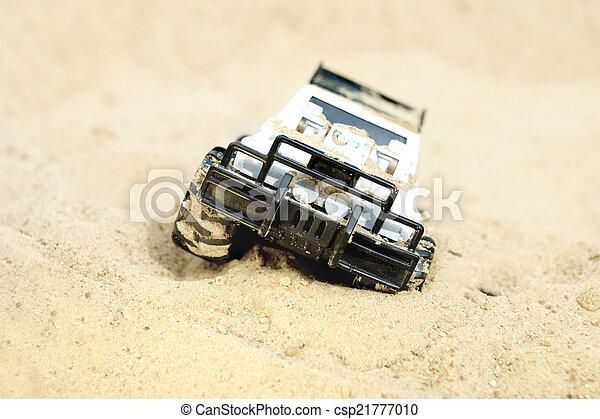 おもちゃ, 離れて, 車, 道 - csp21777010