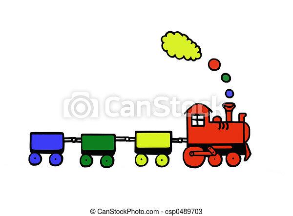 おもちゃ, 面白い, 列車 - csp0489703