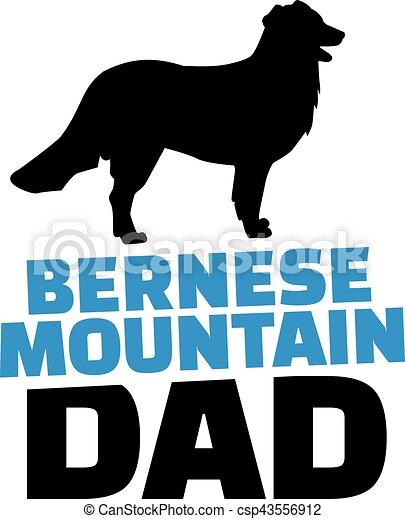 お父さん 山 Bernese シルエット 犬