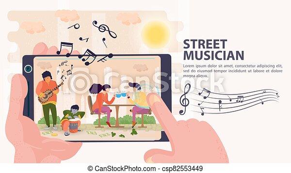 お茶, モデル, 旗, 平ら, 音楽家, イラスト, テーブル, モビール, 射撃, 人々, ベクトル, 通りの 音楽家, カップ電話, 漫画 - csp82553449