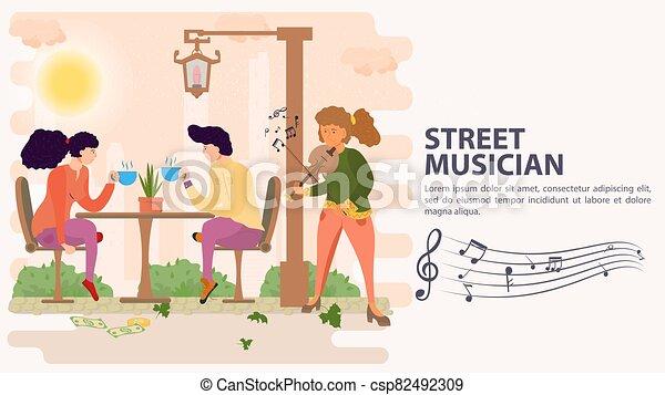 お茶, モデル, 旗, 飲むこと, 平ら, イラスト, テーブル, ベクトル, バイオリン, 遊び, 通りの 音楽家, 飲みなさい, 女の子, 恋人, 漫画 - csp82492309