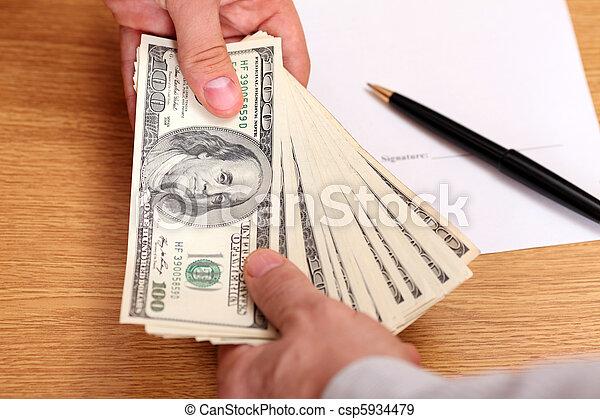 お金, 渡ること, 背景, ビジネスマン, 契約 - csp5934479