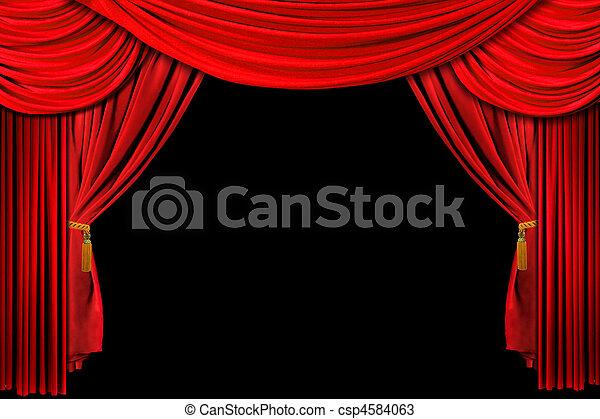 かけられた, 赤い背景, ステージ - csp4584063