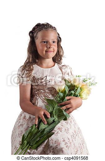 かわいい, わずかしか, おさげ, ヘアスタイル, 保有物, 女の子, 花 - csp4091568