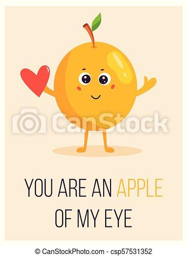 かわいい, アップル, 発言, ポスター, 明るい, 漫画 - csp57531352
