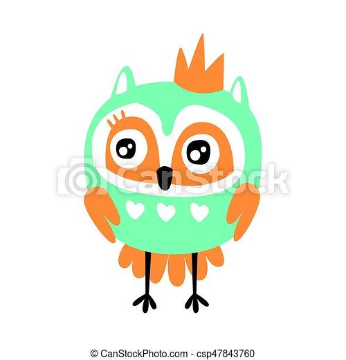 かわいい カラフルである フクロウ 特徴 王冠 イラスト 鳥
