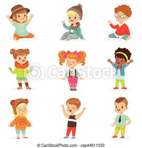 かわいい, スタイル, 子供, 服を着せられる, 衣服, 若い, セット, イラスト, ファッション, 子供