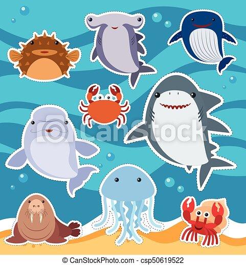 かわいい, ステッカー, 動物, 海, デザイン - csp50619522