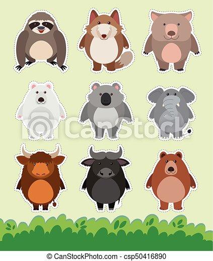 かわいい ステッカー 草 動物 デザイン かわいい 動物