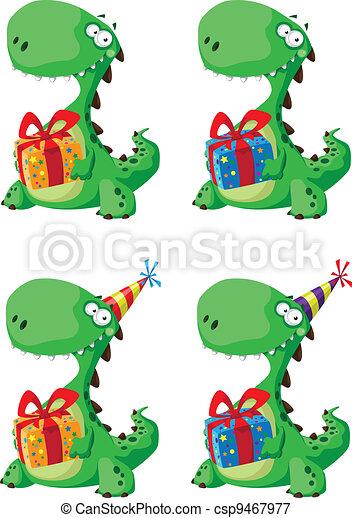 かわいい, セット, 贈り物, 恐竜 - csp9467977