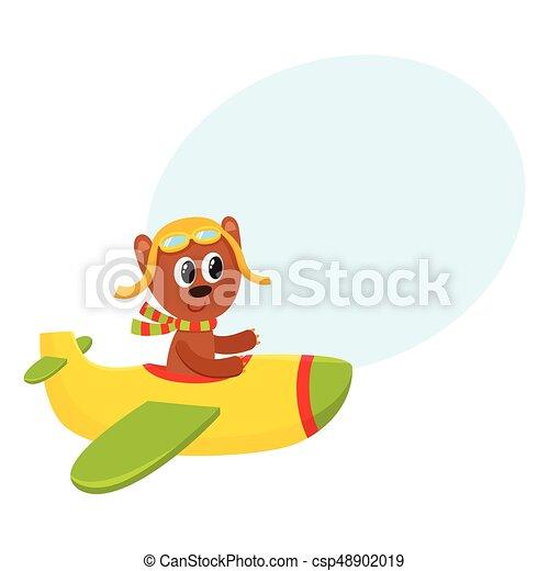 かわいい テディ 飛行 特徴 熊 飛行機 イラスト 漫画 パイロット