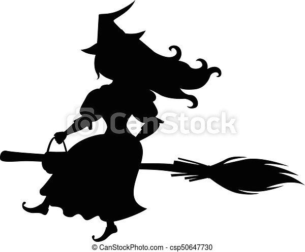 かわいい, ハロウィーン, シルエット, 魔女