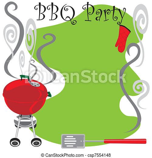 かわいい, パーティー, bbq, 招待 - csp7554148