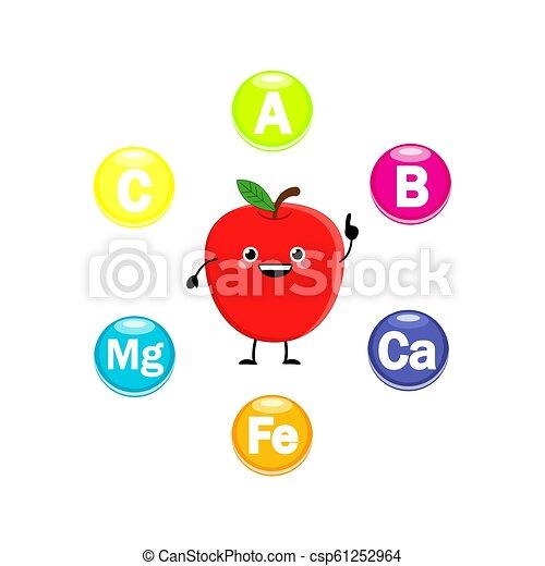 かわいい, ビタミン, シンボル, ベクトル, 特徴, illust, 漫画, アップル - csp61252964