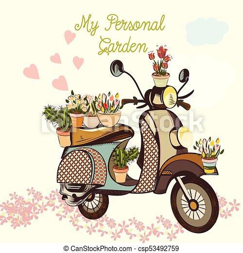 かわいい ファッション 庭 自転車 イラスト Heartseps 花