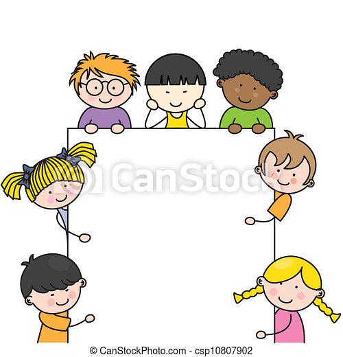 かわいい, フレーム, 子供, 漫画 - csp10807902