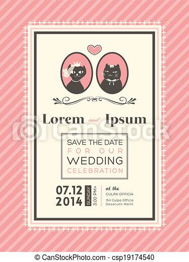 かわいい, フレーム, 結婚式, テンプレート, 招待 - csp19174540
