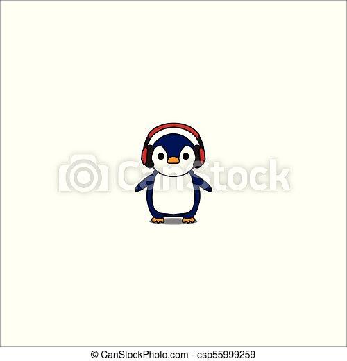 かわいい ヘッドホン ベクトル アイコン 漫画 赤 ペンギン かわいい ヘッドホン イラスト ベクトル アイコン 漫画 赤 ペンギン