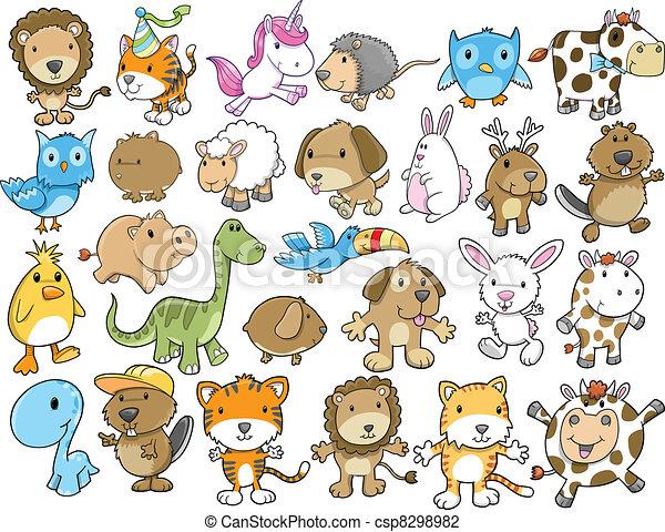 かわいい, ベクトル, セット, 動物, イラスト - csp8298982