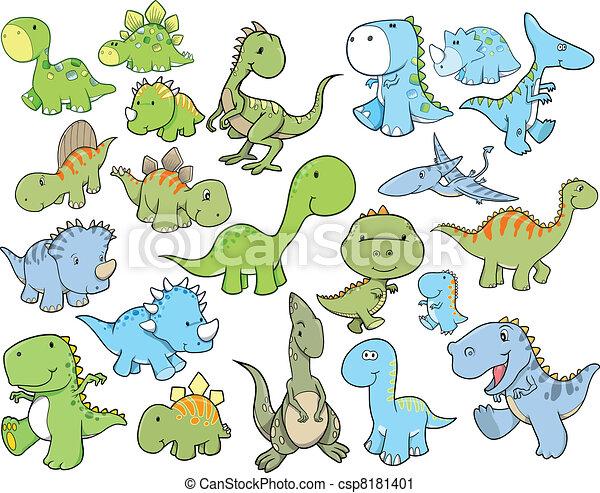 かわいい ベクトル セット 恐竜 かわいい 要素 セット イラスト