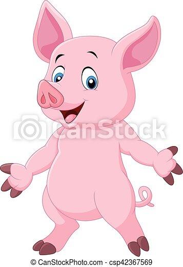 かわいい ポーズを取る 漫画 豚 かわいい イラスト 豚 ベクトル