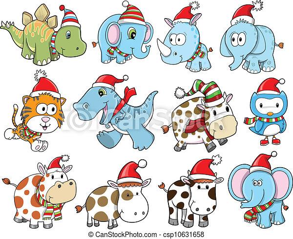 かわいい, 休日, セット, クリスマス, 冬 - csp10631658