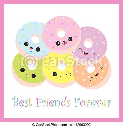 かわいい 友情 イラスト カラフルである ドーナツ かわいい