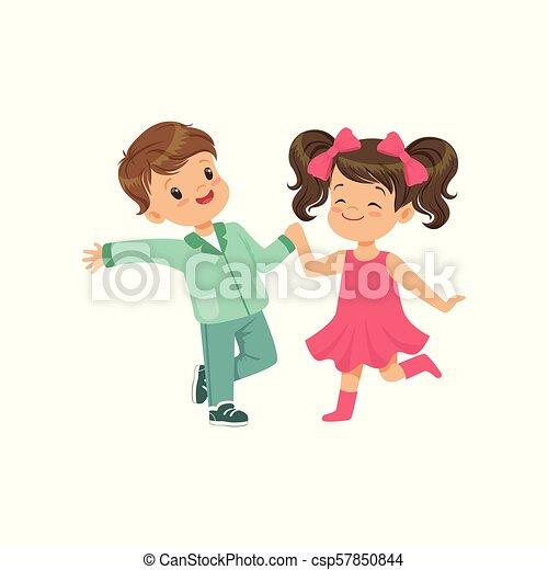 かわいい 女の子 ダンス 男の子 イラスト ベクトル 背景 白 微笑