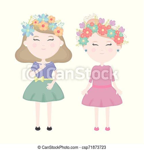 かわいい, 女の子, 恋人, 王冠, 毛, 特徴, 花 - csp71873723