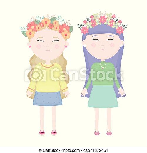 かわいい, 女の子, 恋人, 王冠, 毛, 特徴, 花 - csp71872461
