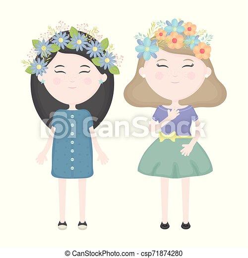かわいい, 女の子, 恋人, 王冠, 毛, 特徴, 花 - csp71874280