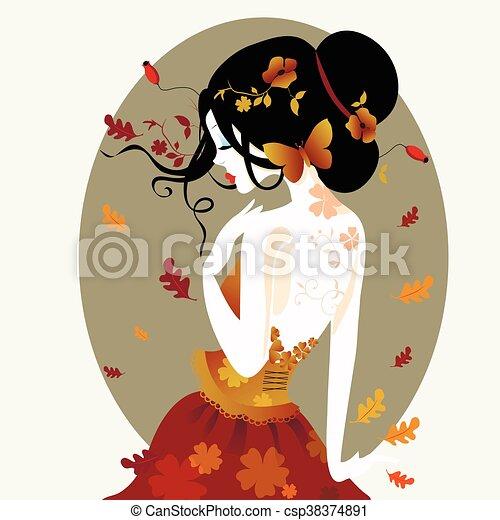 かわいい 女 イラスト 秋 ベクトル 服 かわいい 女 Brown 井戸