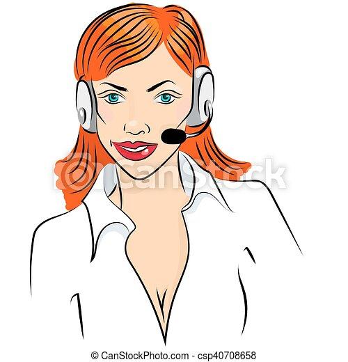 かわいい 女 仕事 電話 イラスト ベクトル オペレーター 微笑