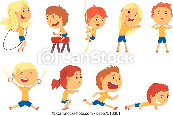 かわいい, 子供, カラフルである, set., スポーツ活動, イラスト, 微笑, 遊び, 漫画 - csp57513301