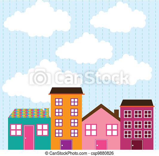 かわいい 家 かわいい 上に 空 Clouds 家 ベクトル Illusration
